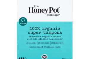 100% ORGANIC SUPER TAMPONS, UNSCENTED