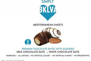 MILK CHOCOLATE DATE, WHITE CHOCOLATE DATE PREMIUM CHOCOLATE DATES WITH ALMONDS MEDITERRANEAN SWEETS