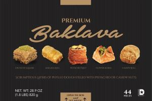 PREMIUM BAKLAVA SCRUMPTIOUS LAYERS OF PHYLLO DOUGH FILLED WITH PISTACHIO OR CASHEW NUTS