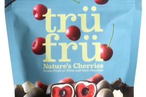 DARK CHOCOLATE NATURE'S CHERRIES FROZEN FRESH IN WHITE & DARK CHOCOLATE