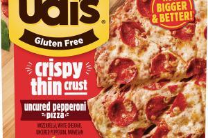 MOZZARELLA, WHITE CHEDDAR, UNCURED PEPPERONI, PARMESAN CRISPY THIN CRUST PIZZA