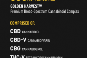 CBD + ADAPT GOLDEN HARVEST PREMIUM BROAD-SPECTRUM CANNABINOID COMPLEX 600 MG PER BOTTLE DIETARY SUPPLEMENT VEGETARIAN CAPSULES