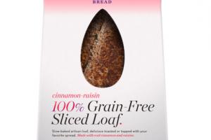 CINNAMON-RAISIN 100% GRAIN-FREE SLICED LOAF.