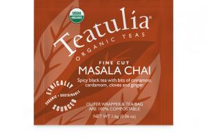 MASALA CHAI FINE CUT SPICY BLACK TEA WITH BITS OF CINNAMON, CARDAMOM, CLOVES AND GINGER.
