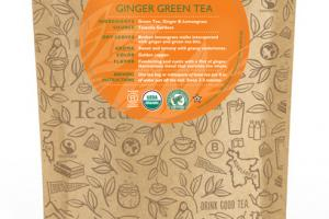 GINGER GREEN ORGANIC TEA UNWRAPPED PREMIUM PYRAMIDS