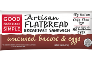 UNCURED BACON & EGGS ARTISAN FLATBREAD BREAKFAST SANDWICH