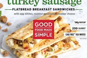 TURKEY SAUSAGE WITH EGG WHITES, ROASTED POTATOES & CHEDDAR CHEESE FLATBREAD BREAKFAST SANDWICHES