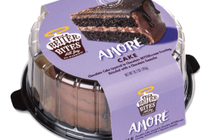 AMORE CHOCOLATE CAKE LAYERED IN CHOCOLATE BETTER CREAM FROSTING, DRIZZLED WITH A CHOCOLATE GANACHE